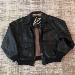 Vintage Nike ie Leather Bomber Jacket
